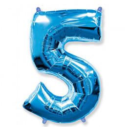 Цифра 5 Синяя