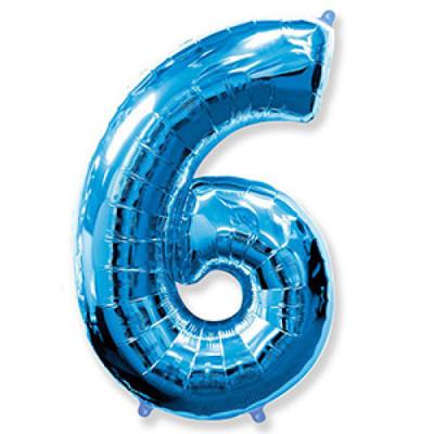 Цифра 6 Синяя