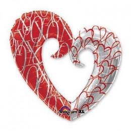 Сердце вензель двухцветное